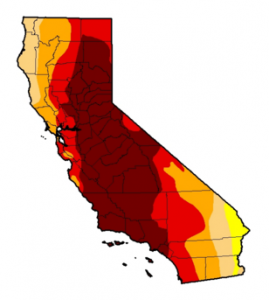 California Drought status as of April 2016. The Dark red=exceptional drought conditions and the red=extreme. Source: U.S. Drought Monitor